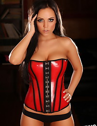 Stunning busty Alluring Vixen babe Aimi teases with her perfect body in a tight corset