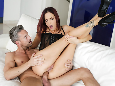Horny redhead got her ass stretch by a big hard dick!