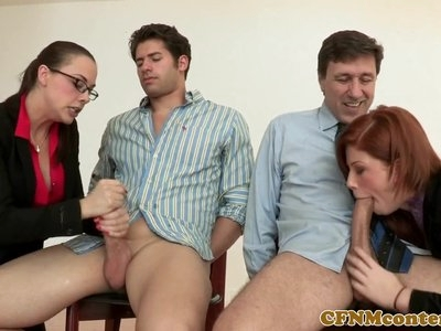 Dominating ginger pussylicking in cfnm group