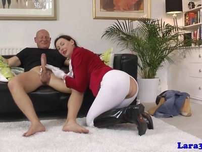 English milf doggystyled then throated