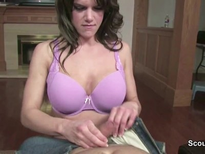 Step-Mom help him to Cum with Blowjob and Facial in POV