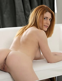 Hot Nubile Sarah Redz strips off her panties and spreads her shaved twat