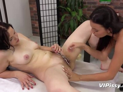 VIPissy - Strap on play for piss soaked brunette lesbians