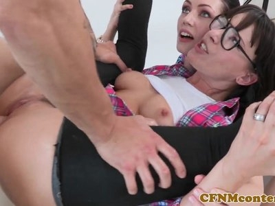 Bossy CFNM mff trio babes assfucked for art