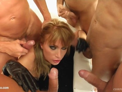 Kate in a many guy facial cumshot blowjob scene from Cum For