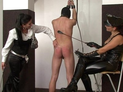 Two russian ladies whipping male slave