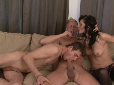 Bisexual Orgy with Two Hunks and a Sexy Brunette