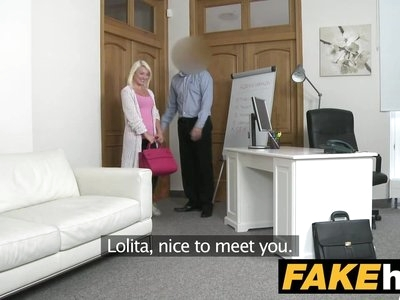Fake Agent Hot Euro Blonde Bombshell likes Doggy Style