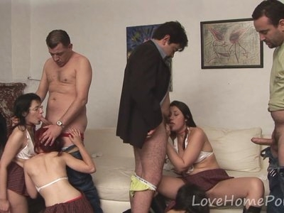 Bisexual schoolgirls love banging in an orgy