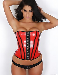 Stunning Alluring Vixen babe Anne teases with her perfect curves in a tight sexy corset and a black lace thong