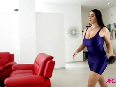 Angela White anally riding strapon cock