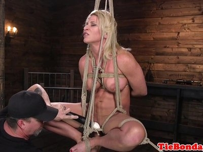 Blonde bdsm sub whipped till she squirts