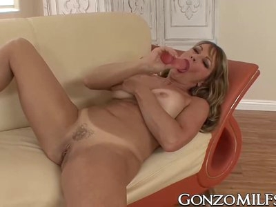 Busty cougar IR fucked and cum blasted after sucking dick
