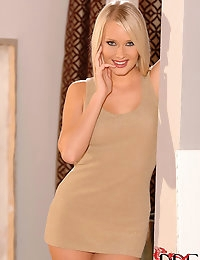 Gorgeous Blonde Czech Deni M. Strips Out Of Her Minidress