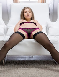 Stunning babe in black stockings Anjelica shows of her fuck holes