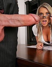 Super hot fucking big tits babe sucks a cock over the desk to get a business deal though then gets pounded hard from behind in these hot big tits exec