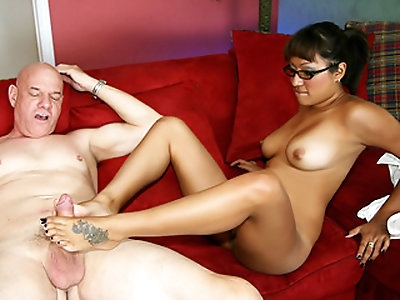 Tight pussy latina girl wearing eye glasses Jasmen Lopez rides the hard cock of her boss on the red sofa