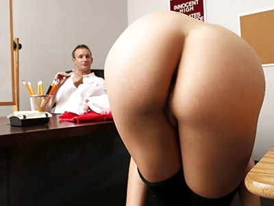 Hot ass blonde hottie Bailey Blue gets fucked by a big cock of her school coach on the table