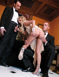 Hot slut in classy attire gets fucked and double penetrated