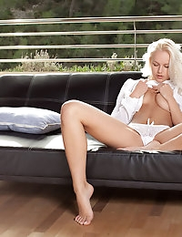 Stunning Karina O unwraps her white blouse to show off her sexy white panties. Watch as slides off her panties and enjoys some sensual teasing all over her stunning naked body.