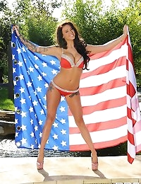 Gorgeous UK babe Daniela supports USA with hot strip tease