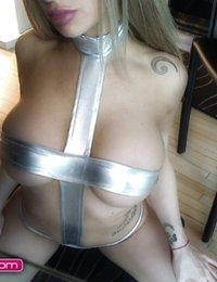 Barbara Belize in a silver metallic bikini
