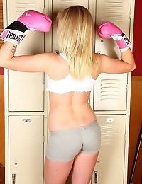 Sporty babe Ashley Vallone shows off her tight perfect ass while practicing for boxing class