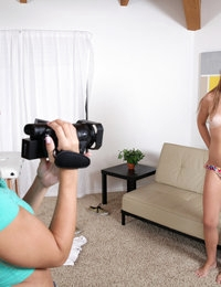 Cassidy Klein interviews redhead Kaylee Haze and then helps her get naked so they can have a three way fuck fest