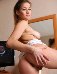 Adele in her white T-shirt giving a pussy and ass show in the study