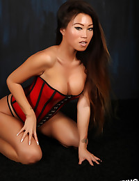 Stunning asian Alluring Vixen babe Jada Cheng teases in a tight corset and black thong