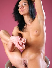 Gorgeous babe Sandra on a bar stool looking hot and beautiful