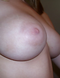 Busty slut girlfriend takes selfshot pictures of her big perky tits for us