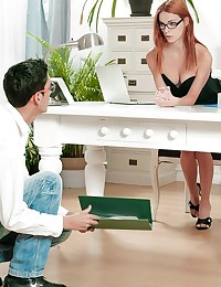 The moment Favio walked into his boss's office to deliver his report, he knew something was different today. Susana Melo was wearing a top cut so low, he could see the whole shape of her breasts. But when Susana took any excuse to spread her legs wide and let him peek at her pussy-lips through the sheer material of her panties, Favio knew he was going to get his ultimate work fantasy to get his boss. Susana bent over her desk, all but inviting him to sneak in behind her and fuck her right then and there. Watch how Favio rose the occasion, licking Susana's clit and pussy until she was so horny she needed his cock desperately.