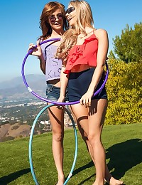 You can't keep horny teen girls like Staci Carr and her friends Maci and Emma from jumping into bed for a sexually charged lesbian threesome. Check out how the raw passion crackles in this GGG scene, as these playful teens drop their hula hoops and run inside to play out their lust in the bedroom. Maci Winslett got off just how she likes it, sitting her plump butt on Emma Stoned's face as she slid her tongue deep in her hole. With playful licks, nibbles and slaps at every inch of willing flesh, these babes kept the party going all afternoon with steamy three-way sex.