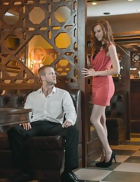 After-hours in the empty pub where they both work, Denis Reed decided to act on his long-lasting desire for his co-worker Linda Sweet. He took an extra long look at that ginger goddess over the wall between their booths. After warming Linda up with some conversation, Denis made his move and brought Linda in close for a deep kiss on the lips. After pulling up her dress to get at her pussy, Denis fingered her pussy until she was wet and horny for hot sex. Denis bent Linda over a table and fucked her right there in the open, watch how her butt jiggled and shook as he thrustedinto her from behind.