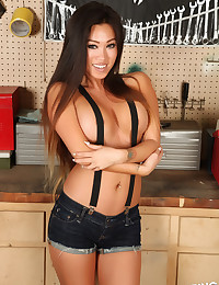 Perfect asian Alluring Vixen Jada Cheng teases at the tool bench topless