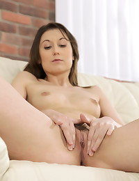 Hot brunette babe fills her ass with monster toy