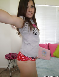 Super cute girlfriend shows off her perky tits and very round ass that begs for a good spanking