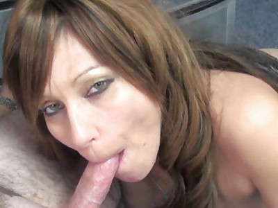 Slutty brunette cougar Brandi Minx is in the office on swallowing a lucky dudes stiff cock