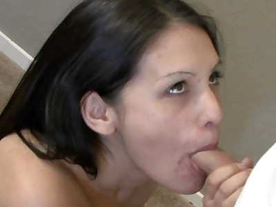 Petite brunette cutie Selena is swallowing a stiff cock and taking all the cum in her mouth