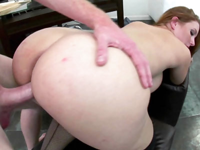 Busty redhead Rebecca Lane in fishnet stockings while she gets her tight pussy pounded