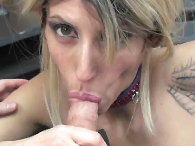 Busty blonde slut Lavender Rayne in sexy lingerie and down on her knees to suck some dick
