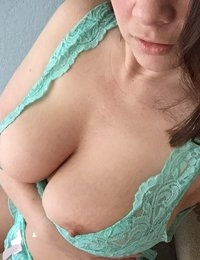 Victoria Raye getting topless in a teal lingerie set