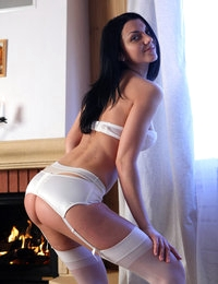 Brunette Macy looks amazing in her sexy white lingerie while posing on cam