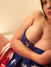 Wanda Milano in a thong and an American flag