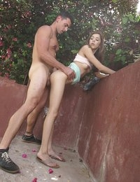 A walk outside turns into a raunchy outdoor fuck fest when Kristina Bell lets her man seduce her