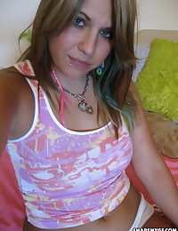 Chubby cute girlfriend teases in bed waiting for her boyfriend to join her