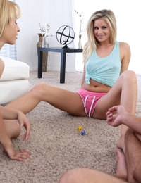Blonde coeds Jessa Rhodes and Violet have a horny threesome where they team up to give their man lots of pussy pleasure