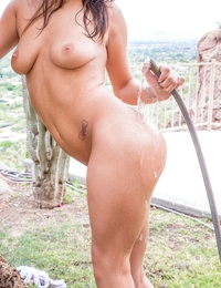 When JoJo Kiss gets caught pointing the hose at her tits and twat her man dominates her pussy for an outdoor fuck fest