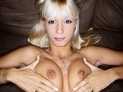 Sexy cock lover blonde cutie Erica Fontes sucks a mean big cock like a pro and gets a cumshot on her mouth and face right after.